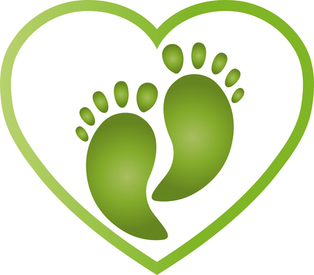Two feet and heart, feet, heart, foot care Vector Illustration
