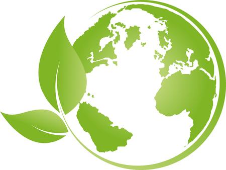 Ziemia, kula, kula światowa, recykling, liście Ilustracje wektorowe