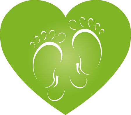 Twee voeten en hart, voeten, hart, voetverzorging