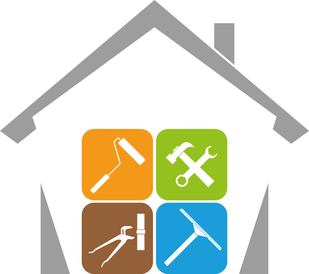 House, janitor, tools, illustration
