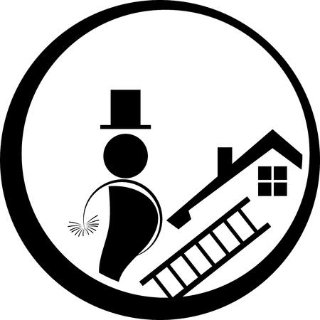 Chimney sweep, man, person, professions illustration.