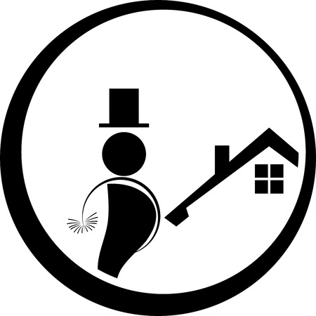 Chimney sweep, man, person, professions illustration.
