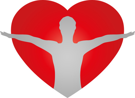 Person, heart, fitness, health Illustration