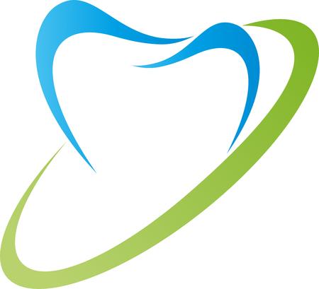 Profilo del dente blu con ovale verde isolato su sfondo bianco. Archivio Fotografico - 98350527