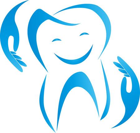 Dente con sorriso e mani, dentista, cure odontoiatriche, segno.