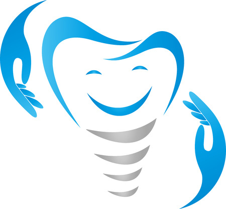 Tooth with smile and hands, dentist, dental care, sign.