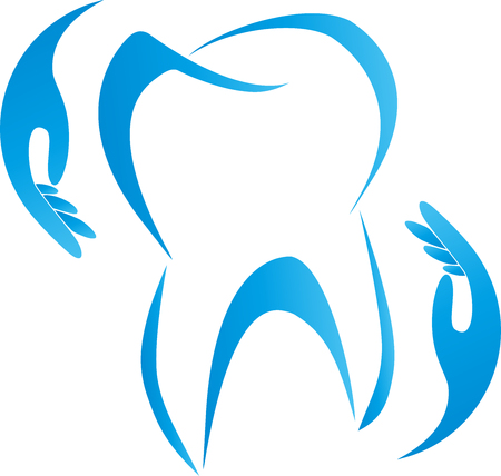 Tooth and hands, dental care, dentistry, signs Illustration