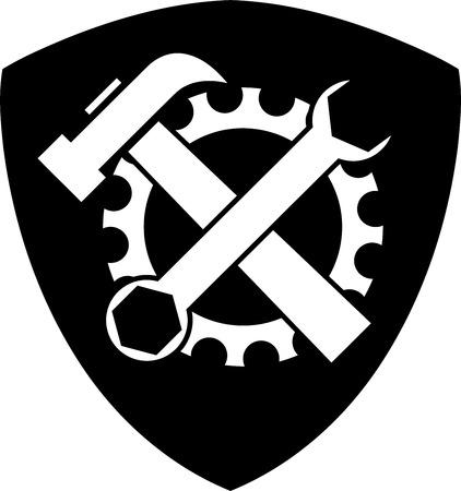 Cogwheel, tools, locksmith, mechanic, coat of arms, sticker