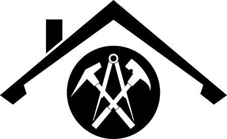 Dachschild, Werkzeuge und Dach, Aufkleberetikett Vektorgrafik