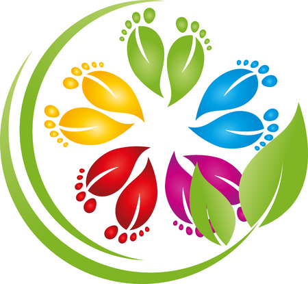 Feet, leaves, physiotherapy, foot care, signs Illustration