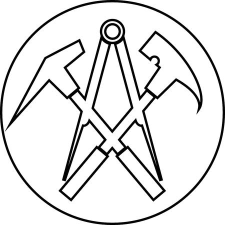 Dachdecker-Werkzeuge, Dachdecker, Symbol, Aufkleberetikett Vektorgrafik