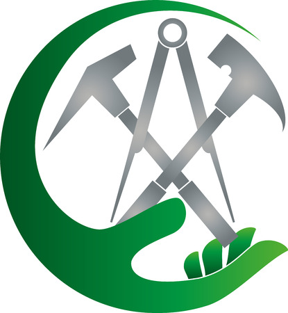 Roofing tools, hand, roofer, icon Illustration