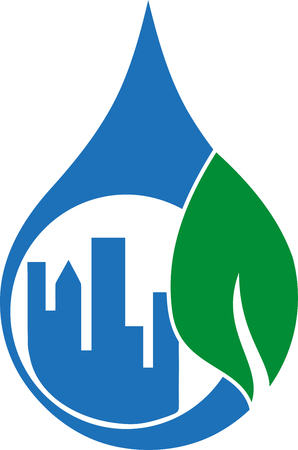 Water drops, leaf, city, eco city, icon Illustration