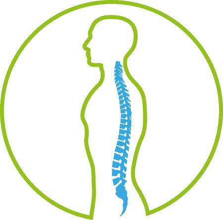 Persona, ortopedia, fisioterapia, columna vertebral, icono