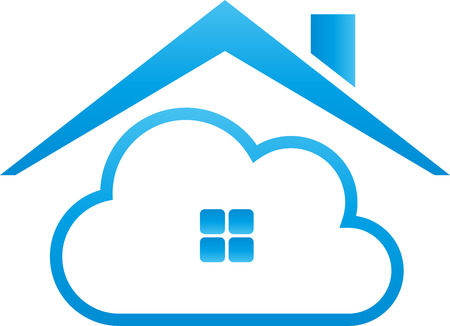 House and cloud, cloud, cloud computing 矢量图像
