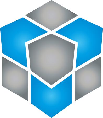 Cube, Cube, Data, IT Services Illustration