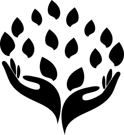 Two hands and leaves, naturopath and wellness sticker label Stock Illustratie