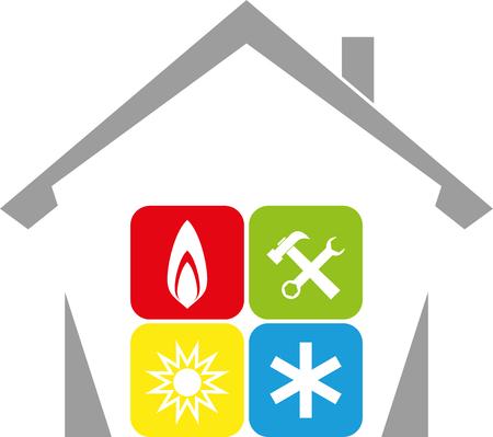 Casa, sol, nieve, llama, herramientas, fontanero, servicio de aire acondicionado Ilustración de vector