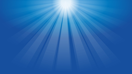 Beams of light, blue, sun, sky, background Ilustração