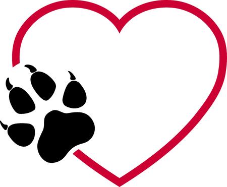 Dog paw, heart, paw, wolf paw, dogs