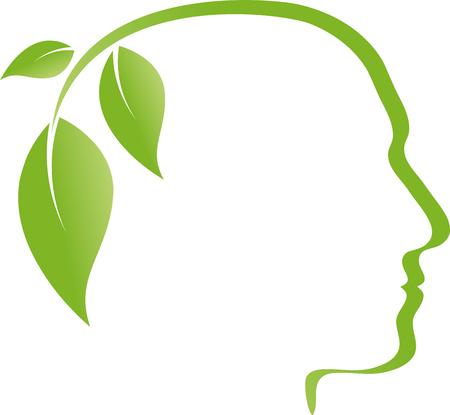 Head, face, leaves, alternative practitioner, vegan Illustration