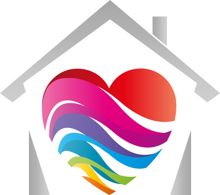 House, heart, rainbow colors, painter, printing house  イラスト・ベクター素材