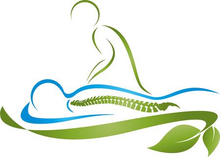 Deux personnes, massage, naturopathes, chiropraticiens Vecteurs
