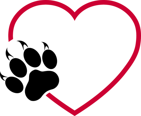 Cats paw and heart, paw, cats Illustration
