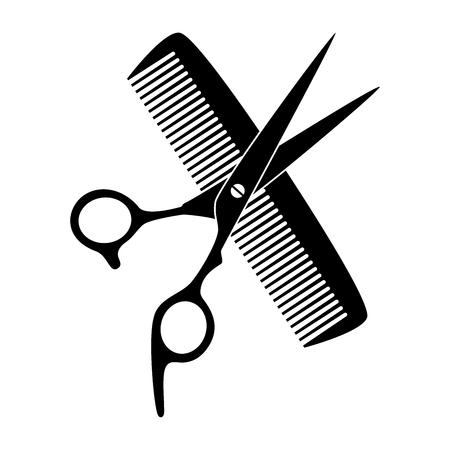 Nożyczki, grzebień, fryzjer