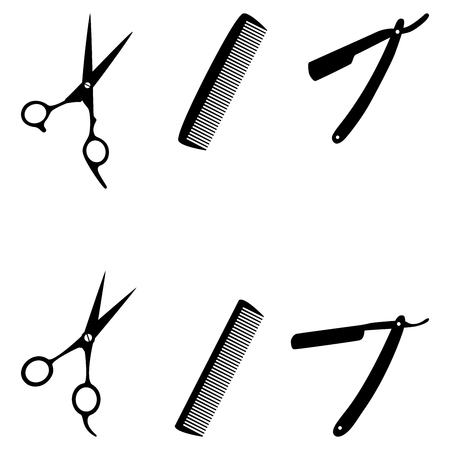 Scissors, comb, razors, hair dresser  イラスト・ベクター素材