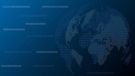 Globe, Dots, Technology, Binary Code, world map globe