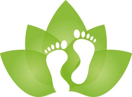 Piedi e foglie, cura dei piedi, massaggio
