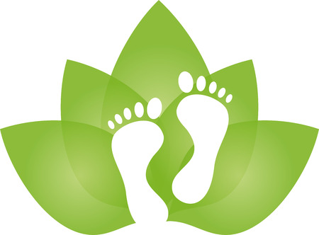 Feet and leaves, foot care, massage