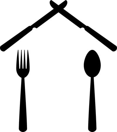 Fork, knife, spoon, house, restaurant
