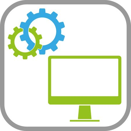Computer and gears, computer button Illustration