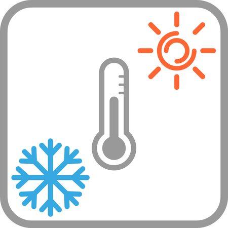 Snowflake, sun and thermometer, temperature