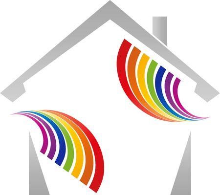 House and rainbow, painter icon Illusztráció
