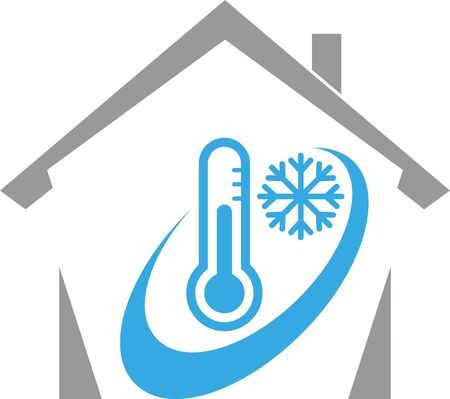 House, thermometer, snowflake, temperature, climate