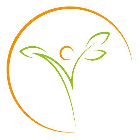 Person as a plant and sun Illusztráció
