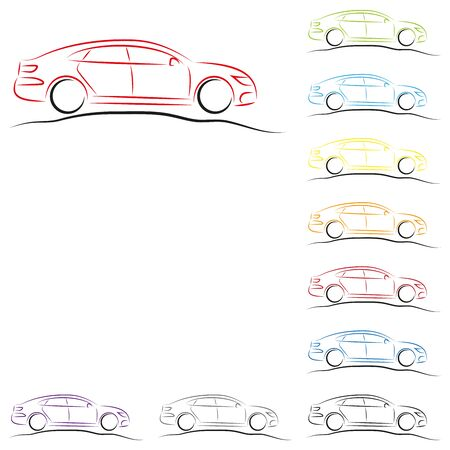 Car in various colors collection