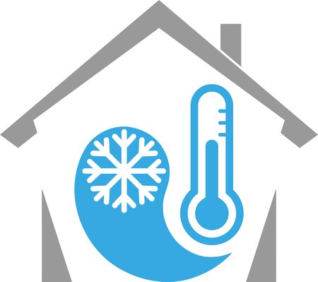 House, thermometer and snowflake icon