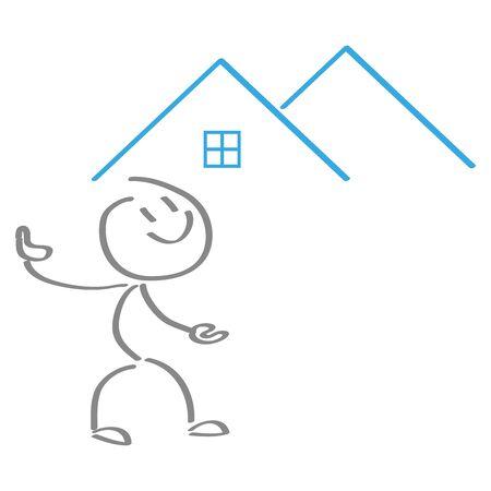 Person, two houses illustration Illusztráció
