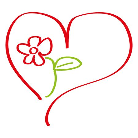 Heart and flower, love