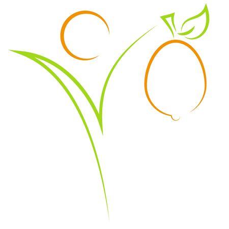 Person and Fruit Icon Illusztráció