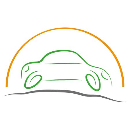 Car abstract and sun, car Illusztráció