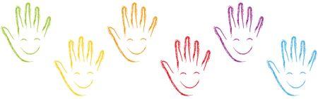 Many hands with smile background Illusztráció
