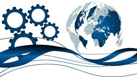 Globe and gears, earth background Illusztráció