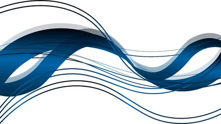Waves and lines in blue background Stock Illustratie