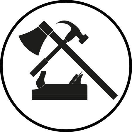 Various carpenter tools in black