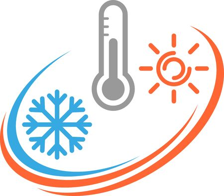 Thermometer, snowflake and sun icon